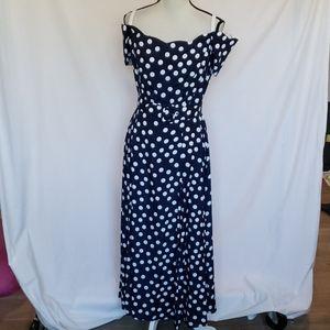 Roberta Navy And White Polka Dot Dress Size 13/14